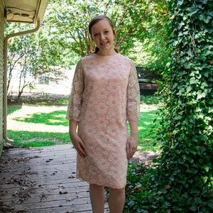 Vintage 60s Pink Taffeta and Lace Dress